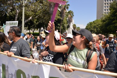 Participants of the El Camino, a 150-mile walk to draw attention to immigration crisis in the United States, attend a rally at the Detention Center in downtown Los Angeles, Calif. Buddy Bleckley for Bread for the World