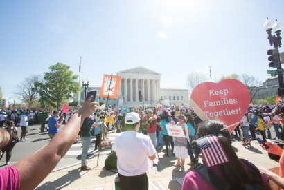 Immigration activists gather at the U.S. Supreme Court as justices hear oral arguments on DAPA (Deferred Action for Parents of Americans). Joseph Molieri/Bread for the World.