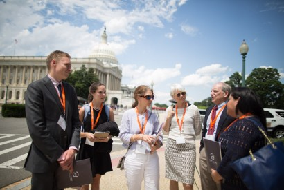 Board member Vic Adamo, second from right, and Bread members from Alabama preparing to visit their member of Congress at Lobby Day 2016. Bread for the World photo.