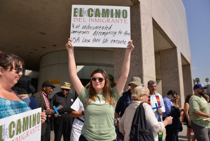 Participants of the El Camino, a 150-mile walk to draw attention to the immigration crisis in the U.S., attend a rally at the Detention Center in downtown Los Angeles. Buddy Bleckley for Bread for the World.
