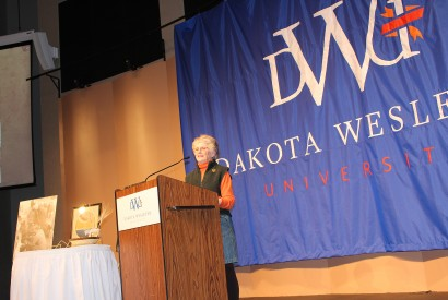 Cathy Brechtelsbauer speaking after receiving the McGovern South Dakota Hunger Ambassador Award. Photo courtesy of Dakota Wesleyan University.