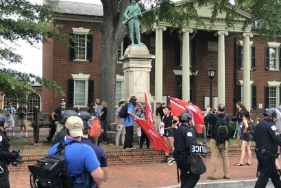 Counter-protesters in Justice Park in Charlottesville, Va. Anthony Crider/Wikimedia Commons.
