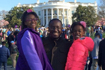 Eric Mitchell, director of government relations at Bread for the World, with his daughters. Photo courtesy of Eric Mitchell.