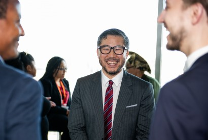 Rev. Eugene Cho at a reception following his selection as Bread's new president. Lacey Johnson for Bread for the World.