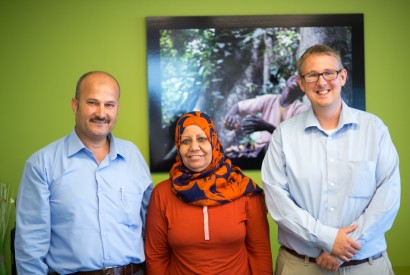 Photo caption: From left to right, Dr. Rafat M. Hassouna,  Rifqa Y. Hamalawi, and Eric Madson. Joseph Molieri/Bread for the World.