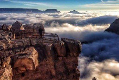 Grand Canyon engulfed by fog. Wikimedia Commons.
