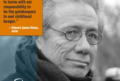 Edward James Olmos. Design by Leslie Carlson for Bread for the World.
