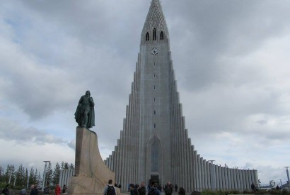 Hallgrímskirkja [Lutheran] Cathedral in Reykjavík, Iceland. The statue is of Icelandic explorer Leif Erikson. Stephen Padre/Bread for the World.