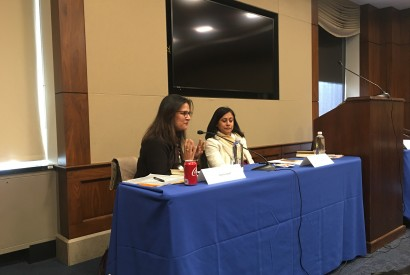 Asma Lateef, Bread for the World Institute director, on left, speaking at the congressional briefing. Jordan Teague/Bread for the World Institute.