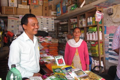 Jokhan Chaudhary, left, is the proprietor of Milan Agrovet, an agricultural retailer in Nepal and a grantee of KISAN I. Jordan Teague/Bread for the World Institute.