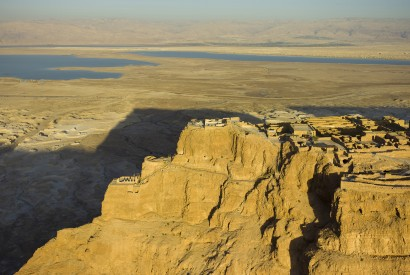 Masada is a rugged natural fortress in the Judaean Desert in Israel overlooking the Dead Sea. Wikimedia Commons.