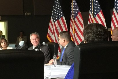 Democratic vice presidential candidate Sen. Tim Kaine, left, and Rev. Gabriel Salguero, right during meeting with religious leaders. Photo courtesy of National Latino Evangelical Coalition.