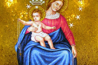 A mosaic depicting Mary and the Christ child at the Basilica of the National Shrine of the Immaculate Conception in Washington, D.C., the patronal church of the U.S. Beechwood Photography/Flickr.