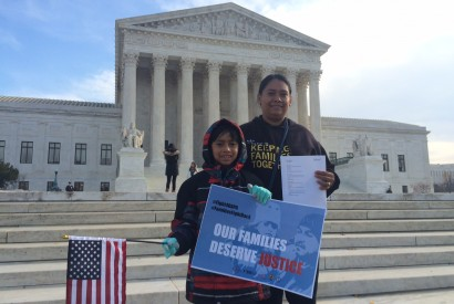 Immigration advocates gathered at the Supreme Court to raise awareness about President Obama's DACA and DAPA programs. Esteban Garcia/Bread for the World.