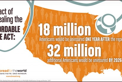 One year after ACA is repealed, 18 million would be uninsured. Graphic by Doug Puller / Bread for the World
