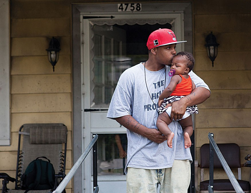 Nate Gordon is a member of the HELP program for male returning citizens in Cincinnati, OH. HELP was featured in Bread for the World Institute's 2014 Hunger Report, Ending Hunger in America. Gordon is shown here with his daughter. Photo by Joseph Molieri f