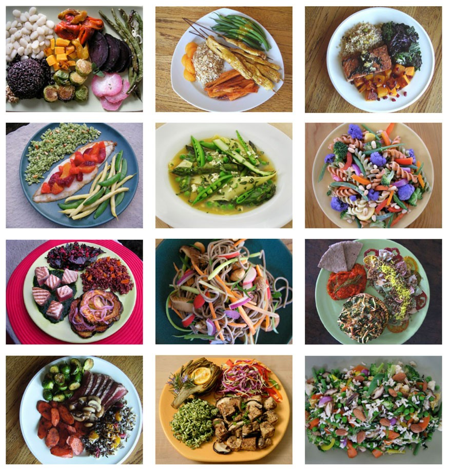 The plates below are examples of a planetary health diet. This is a flexitarian diet, which is largely plant-based but can optionally include modest amounts of fish, meat and dairy foods.
