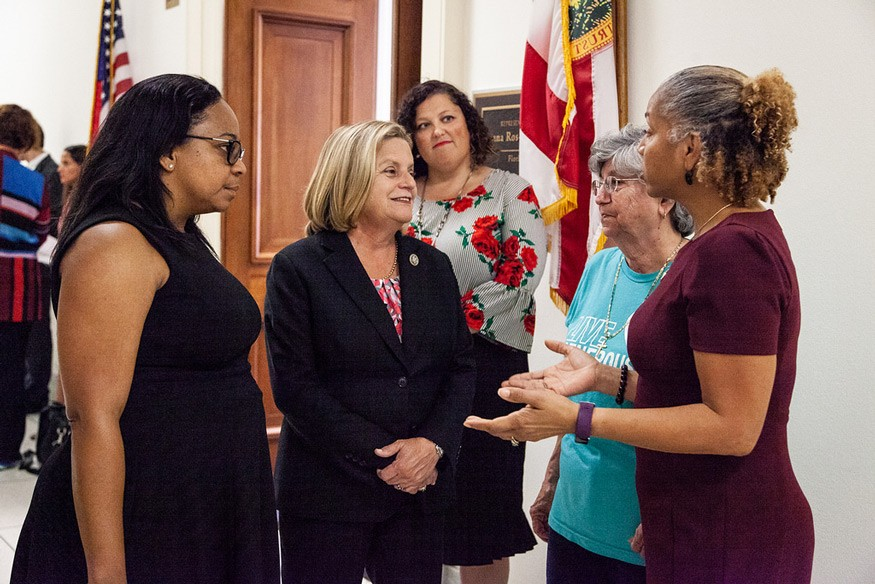 Florida constituents meet with Republican Ileana Ros-Lehtinen, who represents Florida's 27th Congressional District, outside of her Washington, D.C. office on September 26, 2018. Photo: Nina Ramadan for Bread for the World