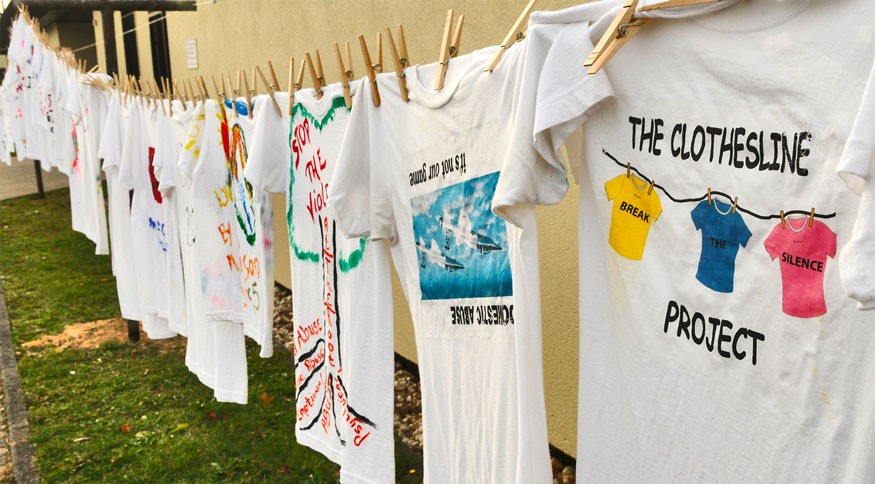 The Clothesline Project is a way for individuals affected by domestic violence to convey their emotions through artistically decorating a t-shirt to inform others about the dangers of domestic abuse. Photo: USAF