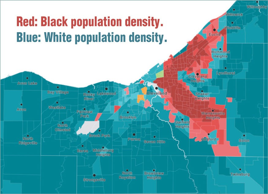 Cleveland is among the 10 most segregated cities in the United States—in fact, it is considered hyper-segregated. African Americans largely live on the east side of the city (red), while most whites live on the west side (blue). Source: www.clevescene.com