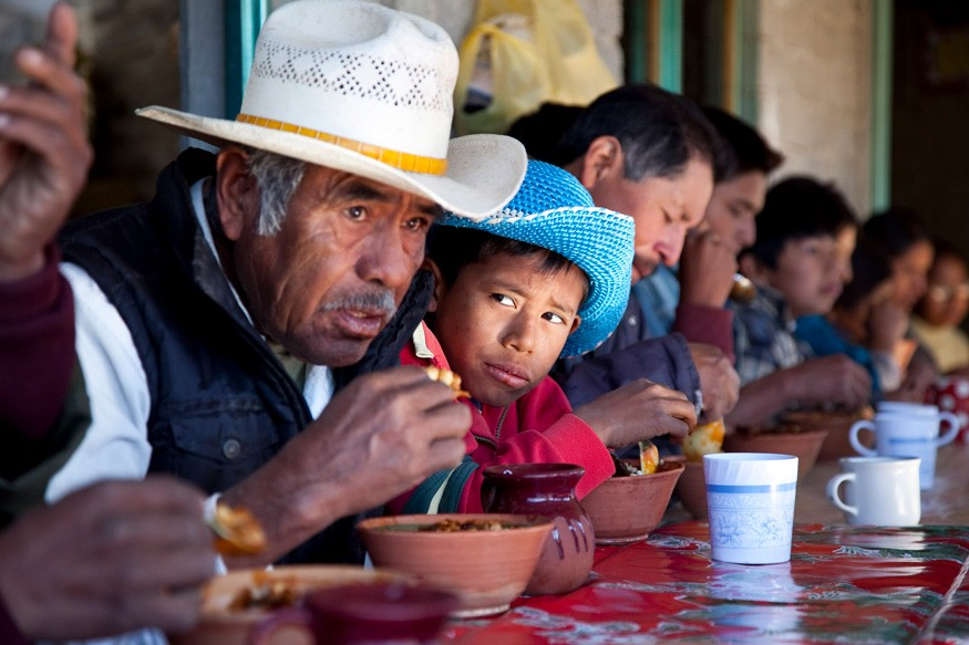Community meal in San Miguel Huautla, Oaxaca, Mexico, on Sunday, December 12, 2010 in celebration of the Virgen de Guadalupe. Photo: Laura Pohl / Bread for the World