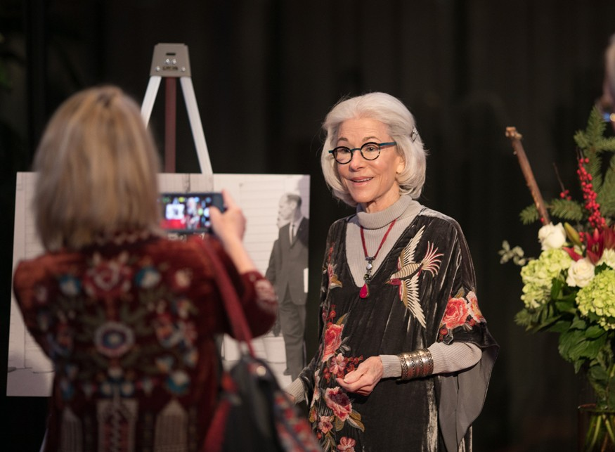 Eleanor Crook posing for a photo during an award ceremony to accept the President's Volunteer Service Award for Lifetime Achievement. Brian Birzer for Bread for the World.