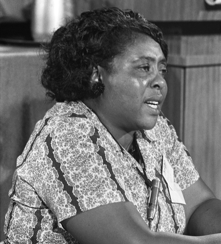 Fannie Lou Hamer, Mississippi Freedom Democratic Party delegate, at the Democratic National Convention, Atlantic City, New Jersey, August 1964. Warren K. Leffler / Library of Congress