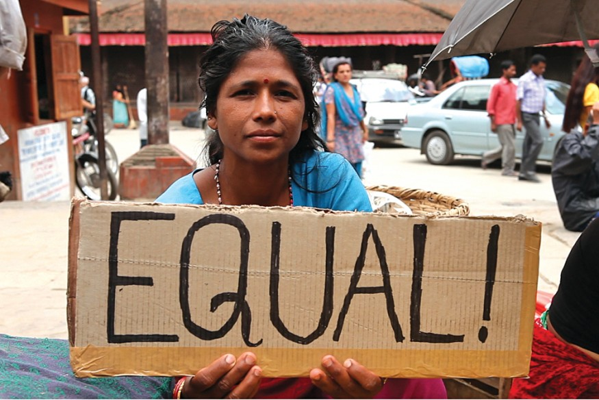 A woman in Nepal spells out what is on her mind about women's empowerment. Stephan Bachenheimer/World Bank