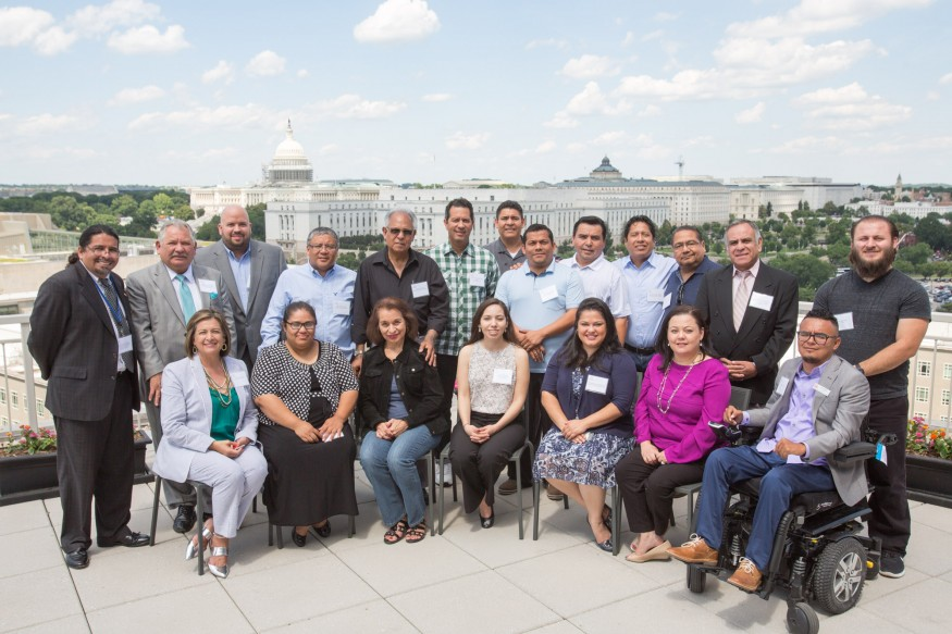 Latino clergy and faith leaders, Rev. Juan Vicente Padilla, fifth from right, gathered for a workshop before participating in the 2016 Bread Lobby Day.  Joseph Molieri/Bread for the World.
