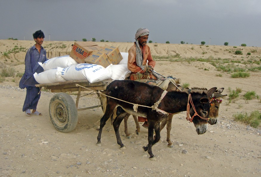 Displaced Pakistanis pull a cartload of rations distributed by the UN World Food Programme (WFP) at a tent camp in Naseerabad, Balochistan Province. UN Photo/WFP/Amjad Jamal.