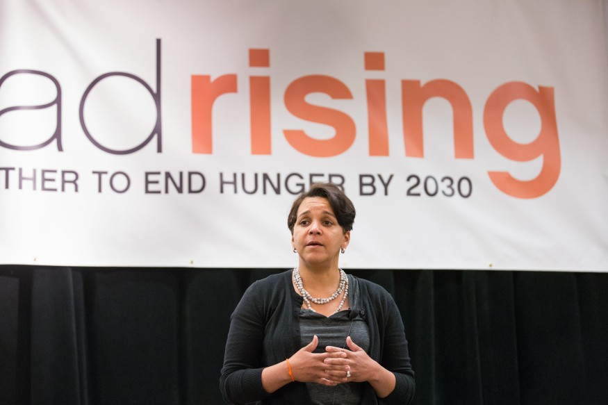 Andrea James, founder of Families for Justice as Healing, discusses her journey from attorney to federal inmate to prison-reform crusader during the 2014 Bread for the World National Gathering. Joseph Molieri/Bread for the World.
