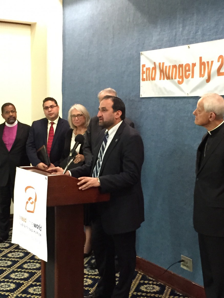 Anwar Khan, CEO of Islamic Relief, speaks at this morning's press conference organized by Bread for the World. Jennifer Gonzalez, Bread for the World