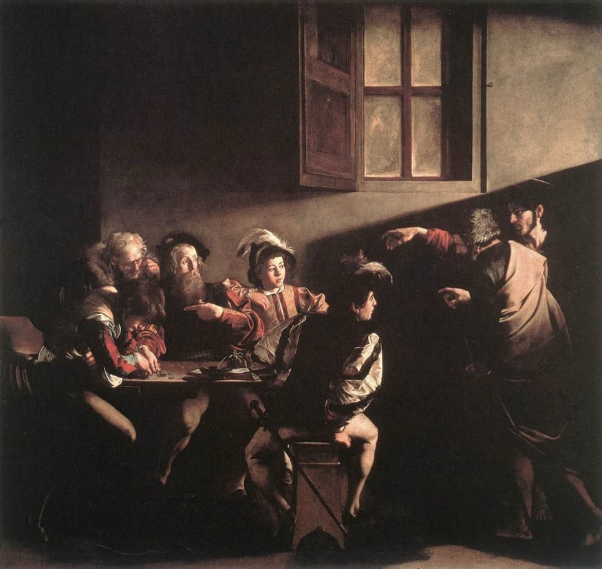 """""""The Calling of St. Matthew"""" by Caravaggio (1599-1600). Photo from Wikimedia Commons"""