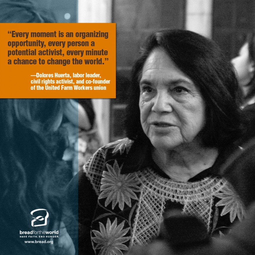 Dolores Huerta. Design by Leslie Carlson for Bread for the World.