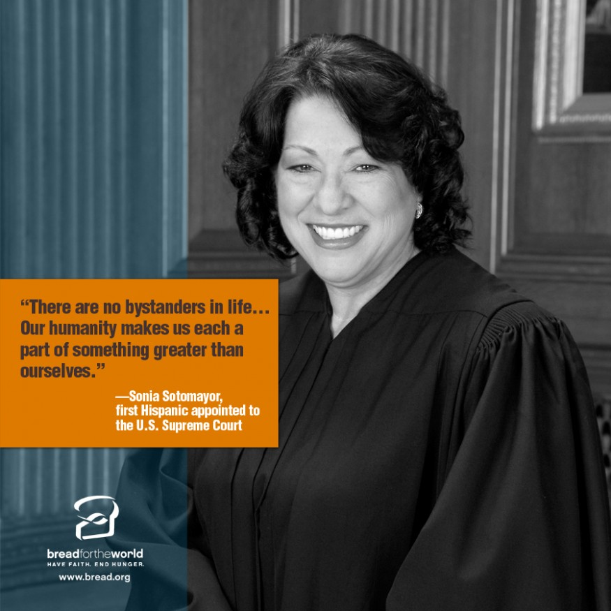 Sonia Sotomayor. Design by Leslie Carlson for Bread for the World.
