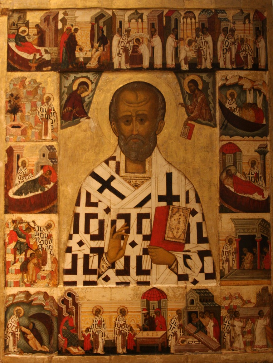 Russian icon depicting St. Nicholas with scenes from his life. Late 1400s or early 1500s. (Wikimedia Commons)