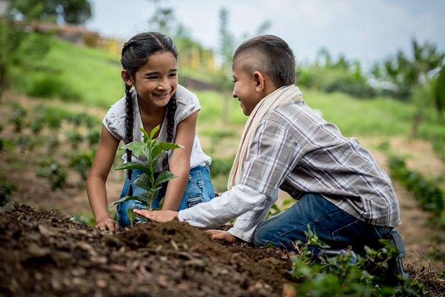 Children planting a tree on their farm. iStock