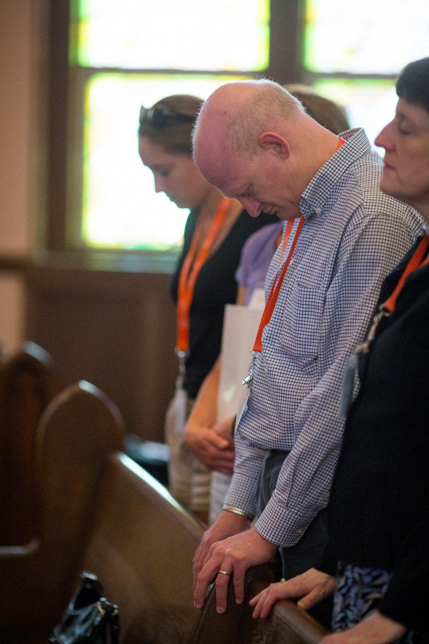 Participants in Bread for the World's 2015 Lobby Day pray. Photo by Joseph Molieri/Bread for the World