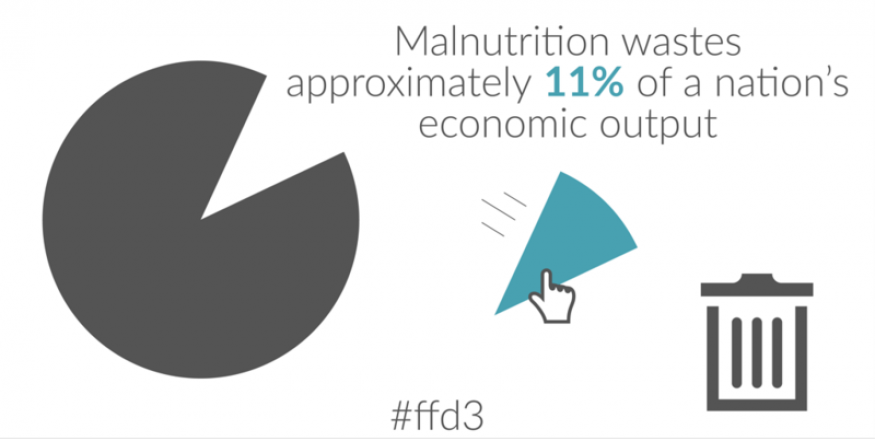 Malnutrition wastes approximately 11% of a nation's economic output. Source: WHO