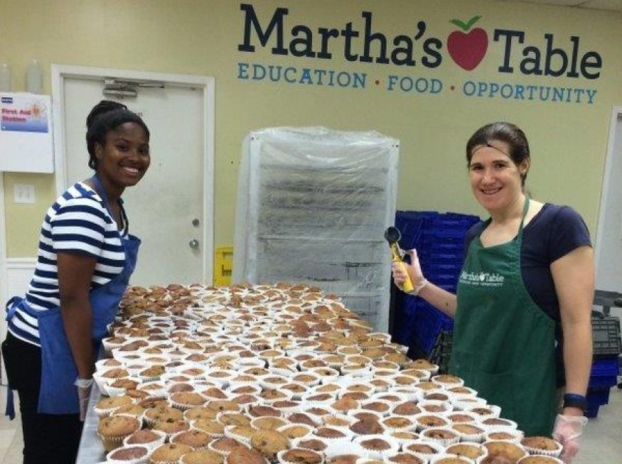 Martha's Table volunteers bake fresh, healthy muffins for DC residents experiencing hunger. Photo courtesy of Martha's Table.