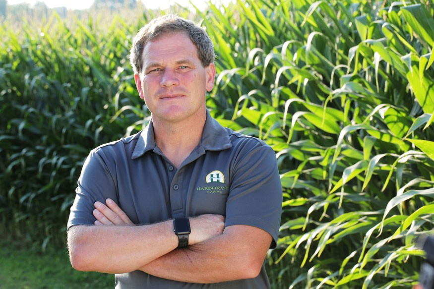 Trey Hill is a third-generation family farmer on Maryland's Eastern Shore. Credit: Bayer Crop Science