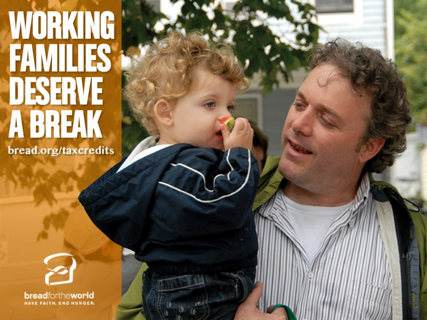 Working families deserve a break. Design by Leslie Carlson for Bread for the World.
