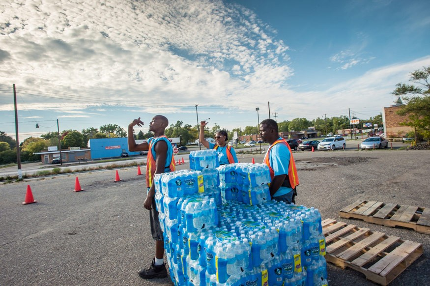 City of Flint, Michigan water, filter distribution, and sample turn-in, on Wednesday, October 5, 2016. While U.S. Department of Agriculture partners may have water available for residents, the responsibility here has been taken on by the City of Flint, wi