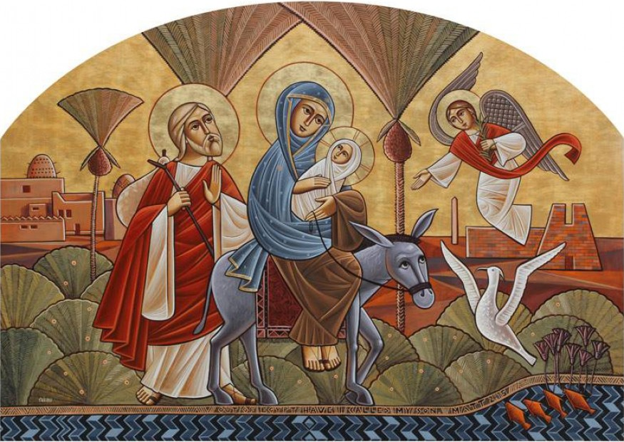Holy Family's flight to Egypt. Painted by iconographer Fadi Mikhail