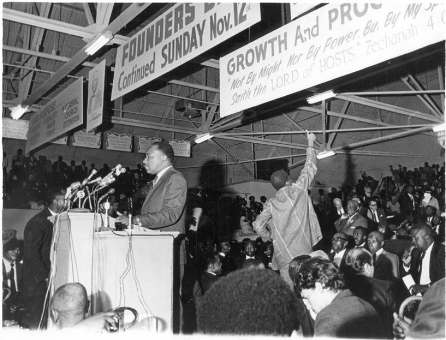 Martin Luther King, Jr. speaking to a mass meeting at the Mason Temple in support of striking sanitation workers. Memphis Press-Scimitar/University of Memphis Libraries Special Collections