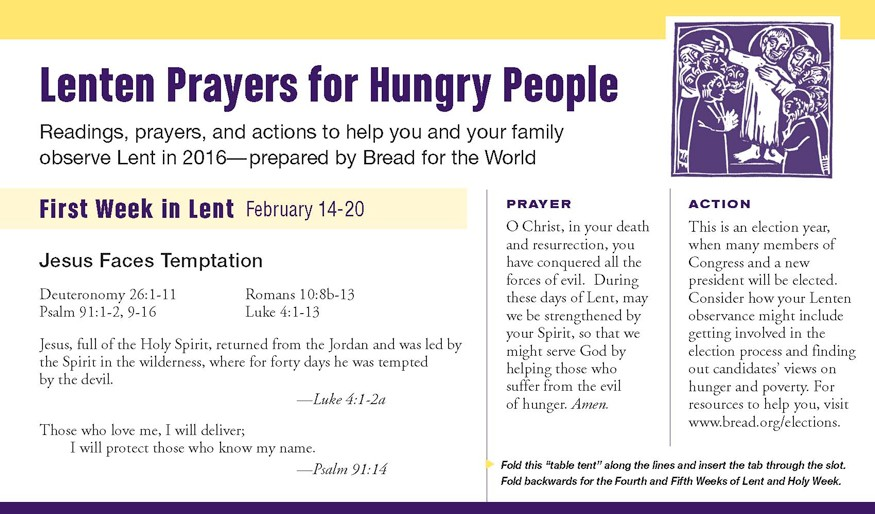 Lenten prayers for hungry people.