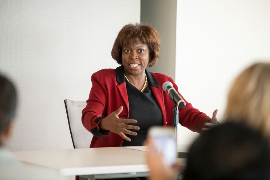 Ertharin Cousin,  former United Nations ambassador, speaking at the Summit. Lacey Johnson for Bread for the World.