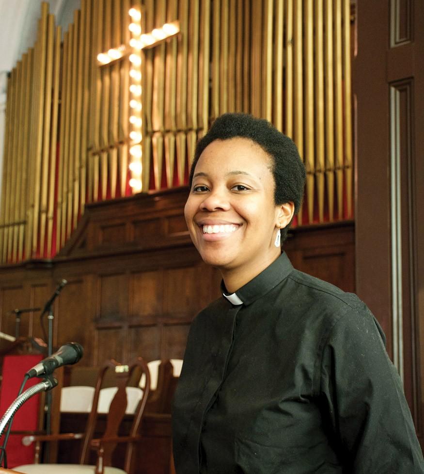 Rev. Jennifer Bailey speaking at poverty hearing in Brown Chapel in Selma AL 3/6/2015. Courtesy Rev. Jennifer Bailey