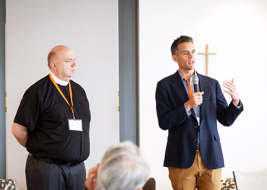 Rev. Dr. Daniel Fugate of the ELCA's Indiana-Kentucky synod and Bread for the World's Matt Gross speak about building relationships with members of Congress. Nina Ramadan for Bread for the World