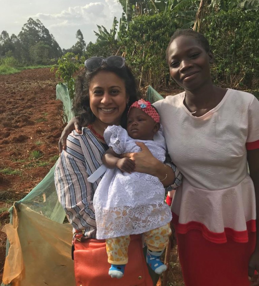 Tanuja Rastogi (left) is pictured with Blessing and her mother Violet on their farm in Kakamega, Kenya in April. Photo: Todd Post / Bread for the World.